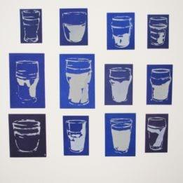 Untitled (12 White Glasses on Purple Ground)
